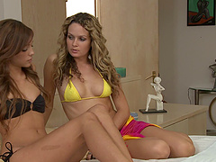 Prinzzess knows how to seduce sweet Melanie Rios for a lesbian fuck
