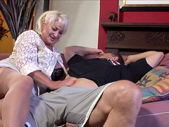 Nasty Dana Hayes gets her wet pussy pounded by a strong guy