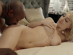 Horny black guy pleases Lily LaBeau by fucking her hairy pussy
